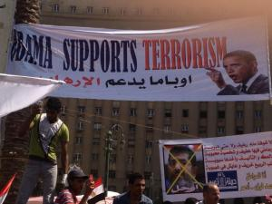 Obama denounced as terrorist at freedom demo in Egypt